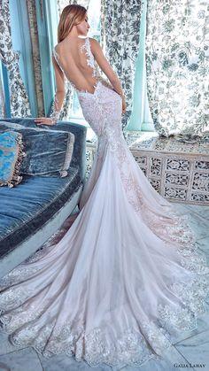 galia lahav bridal spring 2017 illusion long sleeves deep vneck mermaid wedding dress (daria) bv low back train