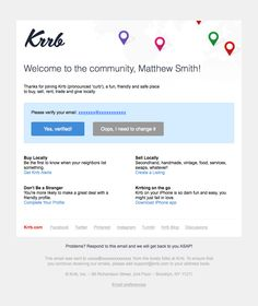 @krrbsale  sent this email with the subject line: Welcome to the Neighborhood! - This is an outstanding email confirmation from Krrb. It's personal, it's brand is strong and the clarity of the actions are clear. Great work for what is normally a boring email. Read about this email and find more verification emails at ReallyGoodEmails.com #confirmation #transactional #verification