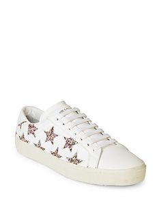 Saint Laurent Court Classic Leather & Glitter Star Sneakers