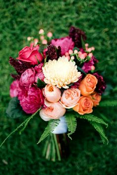 Peach Juliet David Austin English Garden Roses, Pastel Peach Dahlias, Orange Roses, Fuchsia Peonies, Hot Pink Roses, Red Amaranthus, Coral Hypericum Berries & Green Sword Fern = Beautiful Hand Tied Wedding Bouquet^^^^