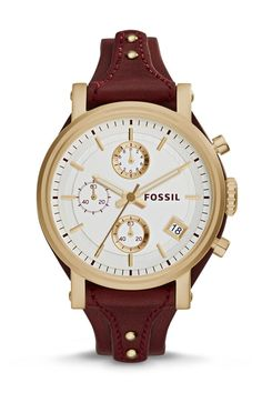 #Fossil Original Boyfriend Chronograph Leather Watch - Red