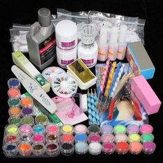 42 acrylic powder liquid brush glitter clipper primer file nail art tips set kit beauty-f74461.jpg (450×450)