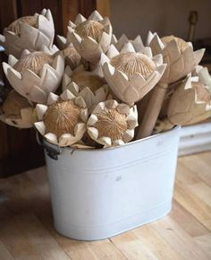 Roses and Rust: A Passion For Proteas ceramic white proteas Protea Art, Protea Flower, Wooden Flowers, Paper Flowers, Adele, Wood Crafts, Diy Crafts, Wedding Design Inspiration, Creative Decor