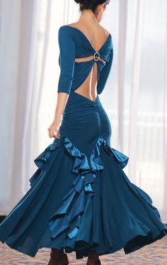 2013 Dance America D301 - Long Chameuse Ruffled Ballroom Dress