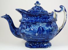Antique Staffordshire historical blue porcelain teapot with a scene depicting a man standing at Washington's grave. 19th century.