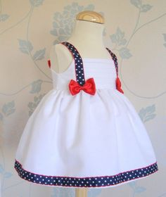 Inspiration for a patriotic doll dress. Little Dresses, Little Girl Dresses, Girls Dresses, Fashion Kids, Girl Fashion, Baby Dress Design, Baby Frocks Designs, Baby Dress Patterns, Kids Frocks
