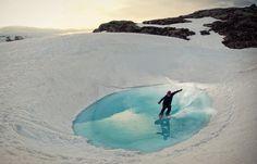 Snow Surfing. Having fun at Folgefonna glacier in Hardangerfjord, Norway. Photo by Emil Eriksson, via 500px