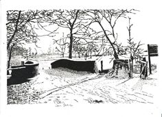 Pen & Ink Drawing, A4 - Wythenshawe Park in the Snow by PetesPiccies on Etsy