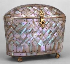 Mother of pearl box made in India (Gujarat) & used by the Roman Catholic church in Portugal in the 16th century.