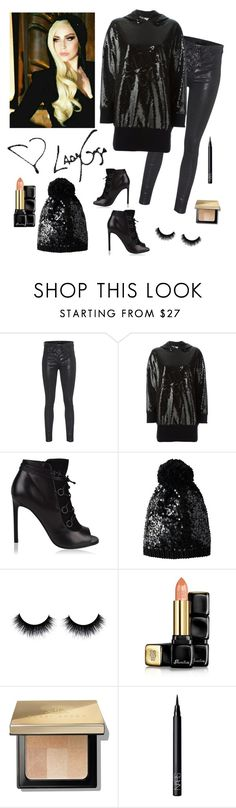 """""""Lady Gaga inspired sequin beanie hat look♡"""" by im-karla-with-a-k ❤ liked on Polyvore featuring rag & bone, Emilio Pucci, Yves Saint Laurent, Betsey Johnson, Guerlain, Bobbi Brown Cosmetics and NARS Cosmetics"""