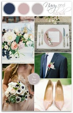 Navy and Blush Wedding Insiration via The Bride Link