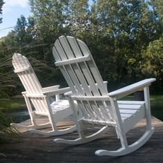 """Poly-wood Classic Adirondack Rocking Chair Eco-friendly product - """"plastic lumber"""" made from bottle waste, such as milk and detergent bottles."""