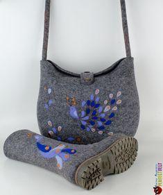 """Купить Сумка из войлока """" Птица цвета УльтаМарин"""" - серый, сумка, рисунок, модный аксессуар"""