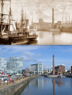 Who in their right minds would authorised those disgusting, crappy looking buildings to blight the Albert Dock area? Canning Dock area, Liverpool, in 1880 and today. Liverpool Waterfront, Liverpool Town, Liverpool Docks, Liverpool History, Interesting Buildings, Southport, Places Of Interest, Milwaukee, Old Photos