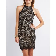 Charlotte Russe Lace Sleeveless Bodycon Dress ($33) ❤ liked on Polyvore featuring dresses, black combo, zipper dress, body con dress, sleeveless bodycon dress, midi dress and midi cocktail dress
