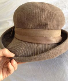 9c64f3e80 Items similar to Schiaparelli vintage hat mushroom brown felt with  stitching 1960s on Etsy