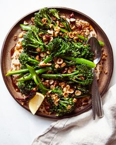 Seared Broccolini with Chili Hazelnuts & Whipped Tahini | The First Mess Chili Recipes, New Recipes, Vegetarian Recipes, Vegan Meals, Healthy Food Blogs, Healthy Recipes, Lunch Recipes, Dinner Recipes