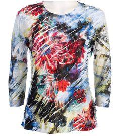 Jess & Jane - Emptions, Ruffle Accents, Scoop Neck, Sublimation Print Fashion Top