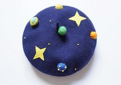 Wool beret with Needle planet,Needle Felted hat pattern,handcraft navy blue beret,Blue sky with star