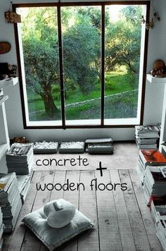 combo: concrete and wood floors