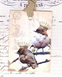 Gift Tags  Birds with Crowns   Vintage Style   by Bluebirdlane