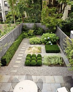 A particularly formal layout works well for this small townhome backyard from Foras Studio.
