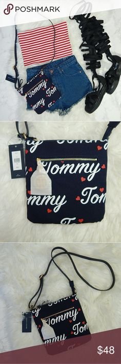 "•Host Pick• Love Tommy CrossBody Bag Super cute and perfect for summer adventures!  Length w/ Straps - 30"" - Navy Blue/White/Red - Adjustable Strap - Bag 9x8""  - Front Zipper - Very Roomy Inside  Shorts and Top are for sale. Scroll for listings.  Jeffrey Campbell shoes will be posted tomorrow.  Bundle for a private offer.  Questions? Ask Away! Tommy Hilfiger Bags Crossbody Bags"