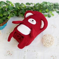 [Happy Bear - Dark Red] Embroidered Applique Coral Fleece Baby Throw Blanket (42.5 by 59.1 inches)