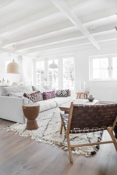 Viyet Style Inspiration | Living Room | Moroccan rug, white sofa