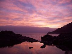 Reflections in the sunset. Bonassola, Italy