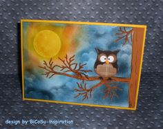 Grußkarte - Eule bei Nacht --- greeting cards - owl in the night - stampin up owl punch