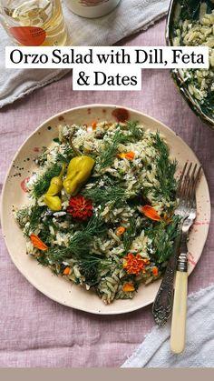 Great Salad Recipes, Summer Salad Recipes, Healthy Salad Recipes, Vegetarian Recipes, Cooking Recipes, Orzo Recipes, Orzo Salad, Picnic Foods, Dinner Menu