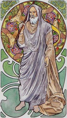 IX. The Hermit: Art Nouveau Tarot