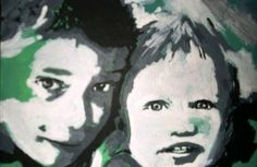 A PERSONNALISER - Fans de leurs enfants : Peinture entièrement fait main à partir d'une photo