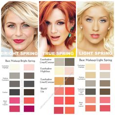 Spring Makeup Comparisons. BRIGHT SPRING is warm with a little bit of Winter (red-violet) added to its colors. So, it's makeup is slightly cooler and darker than True Spring. These colors are bright and clear, almost neon-like, but they are not as saturated as Bright Winter colors. TRUE SPRING is 100% warm. All of its colors are very golden or yellowed. All Spring types do best with sheer & glossy colors. Juicy. Wet. Clear. Dewy. LIGHT SPRING is light and warm. Light colors are imperative…