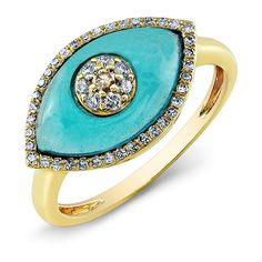 14KT Yellow Gold Blue Topaz Diamond Evil Eye Ring (1 480 AUD) ❤ liked on Polyvore featuring jewelry, rings, gold rings, diamond jewelry, blue topaz gold ring, blue topaz ring and blue topaz jewelry