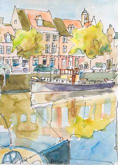 Zwolle - Stadsgezicht (mét Peperbus!) in aquarel - Saskia Wevers