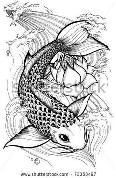 Koi fish tattoo, I like this one but without all the craziness in the back