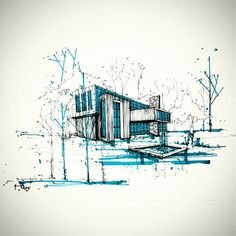 landart.arch's photo on Instagram: Perspective Sketch, Architectural Sketches, Architect Sketchbook, Minimalist Drawing, House Sketch, Building Sketch, Software Online, Landscape Architects, Colour Architecture