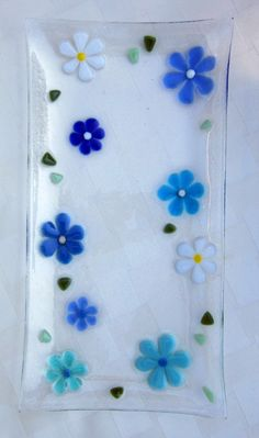 Fused Glass Serving Dish Platter Turquoise Blue by Shakufdesign, $48.00