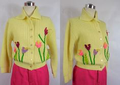 1950's Vintage Canary Yellow Sweater with Felt by vintagebluemoon, $165.00