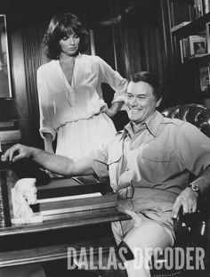 """Sue Ellen and J.R. (Linda Gray, Larry Hagman) are seen in this 1978 publicity shot from """"Reunion, Part 1,"""" """"Dallas's"""" second-season opener. Relive more memories at DallasDecoder.com."""