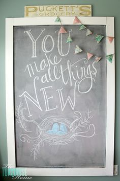 Create this festive DIY chalkboard to share that spring is coming!