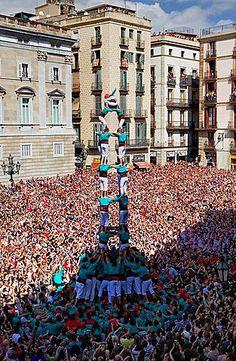 Castellers de Vilafranca 'Castellers' building human tower, a Catalan tradition Festa de la Merce, city festival Placa de Sant Jaume Barcelona.