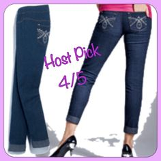 Embellished Denim Capri👖 👖brand new 👖never worn Pulls on. Wide elastic waistband creates a smooth look under tops. Cotton and polyester with spandex. Machine wash and dry.👖 💜BTW: This closet follows the rules:  🙉 no trades, not supported by posh 🙊 no PayPal  AGAINST the rules 🙈 no lowballing  it's RUDE.  F Jeans