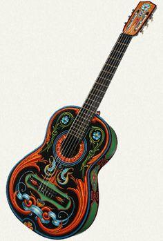 """Guitarra Criolla""  Alfredo Genovese (1999)  Esmalte sintético sobre madera.  Medidas: 38 x 102 x 10 cm."
