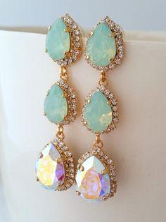 Mint opal and aurora borealis crystal chandelier earrings by EldorTinaJewelry | http://etsy.me/1JwUUE3