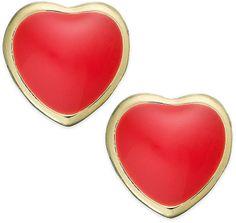 Lily Nily Children's 18k Gold over Sterling Silver Earrings, Red Enamel Heart Stud Earrings on shopstyle.com