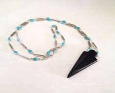 Black Onyx Arrowhead Pendant Necklace with Turquoise by GildedBug