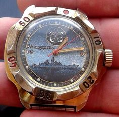 "Vintage Russia USSR ""Russian  watchful boat.  ""Commander. Mechanical watch 2414  #Vostok #Diver"
